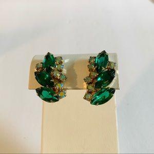 Emerald Green Aurora Borealis Rhinestone Earrings